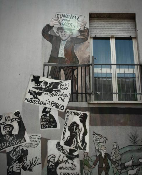 Mural of protestors, Orgosolo