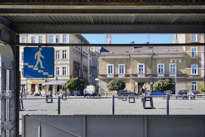 Subway entrance next to Plac Bohaterów Getta