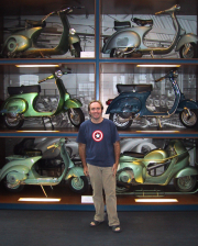 The Vespa bookshelf at the Piaggio Museum in Pontedera