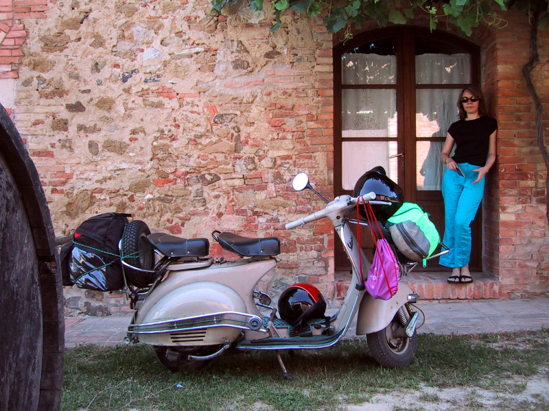 Sally and Sophia outside our B&B in Montepulciano