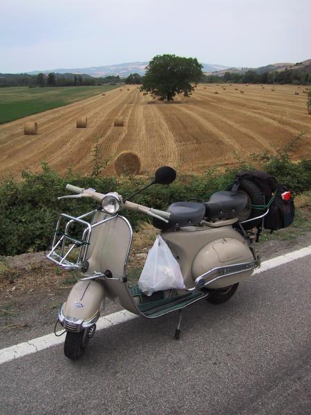 Fields near Massa Marittima - note the bag of supplies